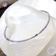 Iolite Micro Faceted Beaded Bracelet Silver